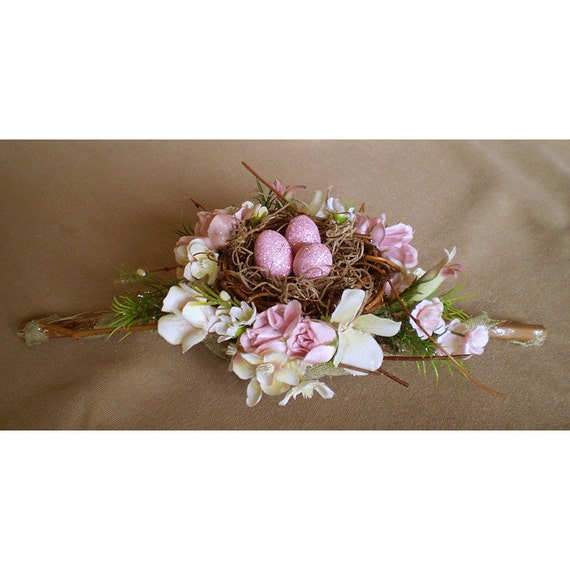 Pink faerie eggs nest Easter Ostara floral centerpiece spring flowers decoration