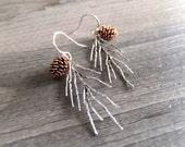 Pinecone Tree Needle Jewelry Earrings - Rose Gold - Rustic Pinecone Earrings - Sterling Silver Earrings