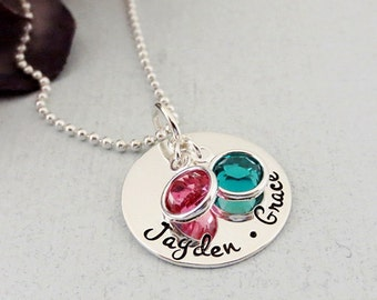Personalized Necklace for Mom - Kids Name Necklace - Birthstone Necklace - Hand Stamped - Sterling Silver - Personalized Mothers Jewelry