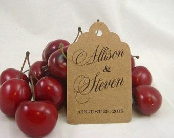 100 Personalized Kraft Wedding Favor Tags