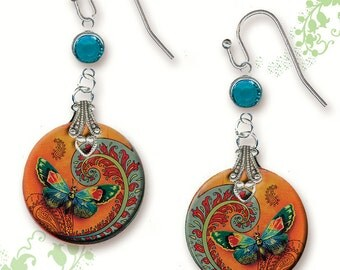 Paisley Butterfly Earrings - BOTANCIALZ Collection by Tzaddishop - Two Sided Glass Art Jewelry - Flight of the Butterfly in Orange and Teal