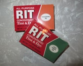 Vintage Rit Dye 2 boxes 1960s jade Green 33 and Tangerine 40