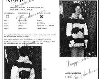 White Buffalo 18 - Buffalo motif graph knitting Pattern - PDF