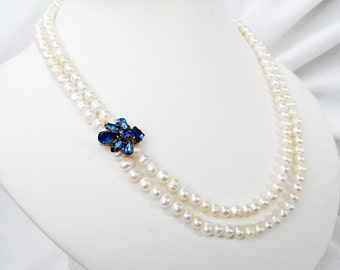 Pearl Necklace Sapphire Blue Rhinestone Accent, Two Strand White Pearl Wedding Necklace, Vintage Blue Rhinestone Bling Gold Handmade, Darla