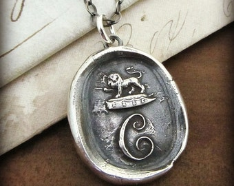 Wax Seal Necklace - Initial C -  Vintage Chalcedony Intaglio with Lion - monogram wax seal - M220