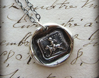 "Wax Seal Necklace ""Faithfulness Guides Me - Cherub and Dog - French Wax Seal jewelry - ever faithful and loyal - FS620"