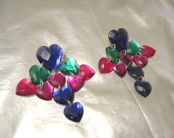1980's Heart Earrings - Faceted Jewel Hearts Chandelier Style - Vintage