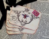 Gift Tags, French Bee Tags, Vintage Bee Tags - Postcard Tag, Crown - Set of 8
