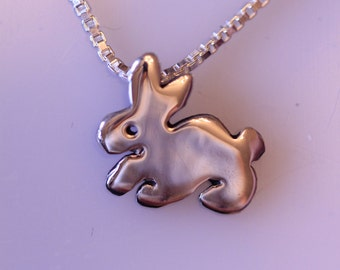 Sterling Silver Bunny Necklace Hopping Rabbit Pendant