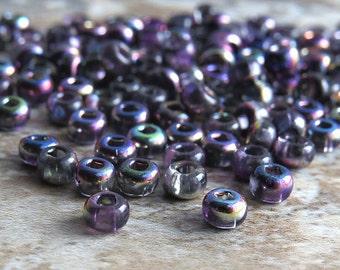 Magic Purple Mix 6/0 Czech Glass Seed Bead : 20 inch Strand