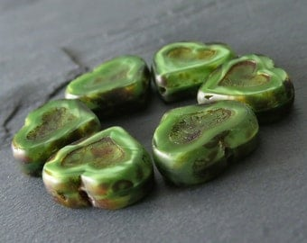 Green Czech Glass 14mm Picasso Heart Bead : 6 Green Heart Beads