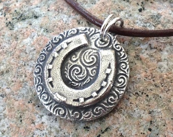 Horse Shoe Pendant or Necklace, Country Western Theme, Rustic Horse Lover Jewelry, Cowgirl Gift, Equestrian Pendant, Gift for Her