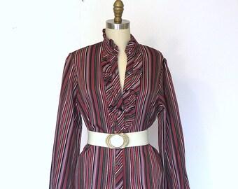 vtg 70s Blouse Victorian Ruffle Blouse Multicolor Striped Hippie Boho Sz M