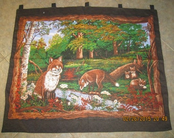 """Red Fox Wall Hanging 35"""" x 44"""" (backed in black cotton fabric) with 5 loops to hang up CLEARANCE SALE 25% Off*"""