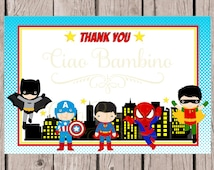 PRINTABLE Superhero Thank You Card / 4x6 Thank You Card / You Print / INSTANT DOWNLOAD