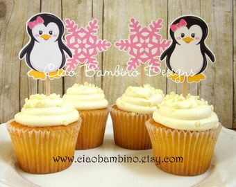 Penguin Cupcake Toppers / Die Cut Cupcake Toppers for Winter ONEderland Birthday or Baby Shower / Wonderland / Set of 12 Toppers - 0012