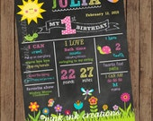 SPRING GARDEN Chalkboard Birthday Sign  / Spring Birthday Chalkboard Sign / Chalkboard Birthday Poster / Butterfly Chalkboard / PRINTABLE