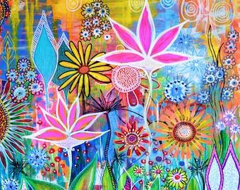 Sundance flowers art print archival print  art print   garden painting  flowers art print