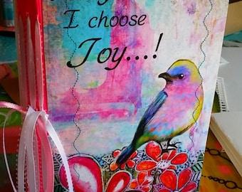 I Choose Joy 9 x 6 inch handmade art journal 140lb Watercolor paper