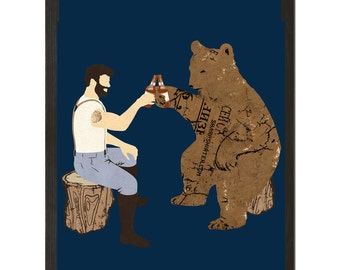 "Heaving a Bear, Beer, Funny Animal Print 18"" x 24"""