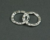 16mm Round Sterling Silver Crinkle Links - Set of 2