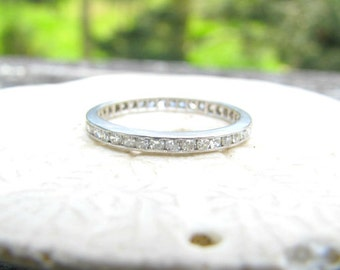 Platinum Diamond Eternity Band, Sparkling Full Eternity Diamond Ring, Lovely Wedding Band or Stacking Ring, Circa 1930's Art Deco