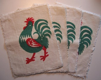 Rooster prints applique patches red green