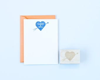 Heart & Arrow Names Rubber Stamp