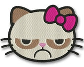 Grumpy Kitty  - PES INSTANT DOWNLOAD - Machine Embroidery Designs