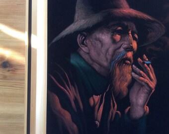 Vintage Velvet Painting, Large Framed Portrait Painting on Black Velvet, 1970s Filipino Art, Pensive Old Man with Beard, Smoking