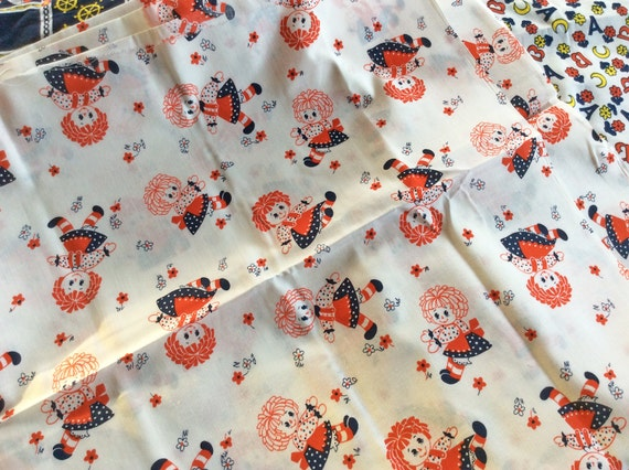 Vintage fabric cute kitschy childrens print novelty for Cute childrens fabric