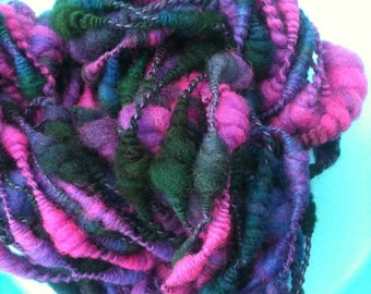 Coiled Beehive Yarn Hand spun & Hand Dyed Core spun yarn Yarn necklace