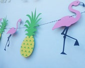 Flamingo And Pineapple PARTY Fun Birthday - Anniversary - Bridal Shower - Photoshoot prop - 8 feet long Banner Pool Party Decorations
