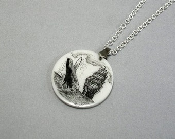 Scrimshaw Pendant with Ship and breaching humpback whale, Corian, nautical scene, necklace