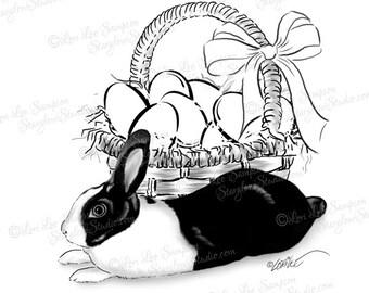 Easter Basket & Bunny Clipart or DigiStamp, Printable Rabbit Art Digital Download, Bunny Rabbit Drawing with Easter Basket of Eggs
