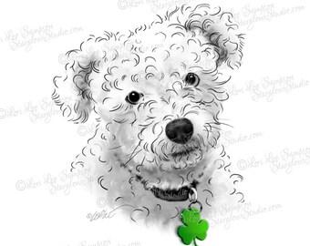 Poodle Art Digital Download Clip Art | Dog Clipart | Scrapbooking Clipart | Paper Crafts | Dog Portrait | Dog Art | Shamrock Dog Tag