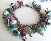 Vintage Style Charm Bracelet Monet Water Colors