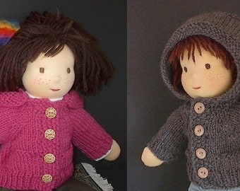 Waldorf Girl or Boy Doll Clothes Handknit Wool Hoodie with pockets in Color and Button of your Choice  - Made to Order