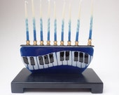 Blue Black and White Piano Fused Glass Hannukah Menorah. Made to order
