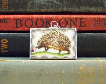 Hedgehog Charm - Soldered Glass Pendant -  Hedgehog Pendant - Woodland Animal Pendant - Story Book Charm - Hedgehog Jewelry