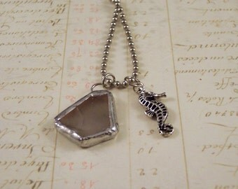 Seahorse & Sea Glass Charm Necklace - Seahorse Necklace - White Sea Glass Necklace - Sea Ocean Necklace - Beach Necklace - Natical Necklace