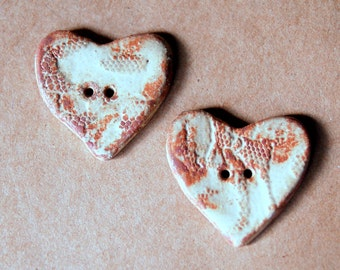 2 Sweet Ceramic Rustic Rust Lace  Heart Buttons