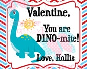 Valentine's Day Tag. You're Dino-mite. Dinosaur Tag. Class Valentines. Printable Tag. PDF File.Personalized.Square Tag. Red