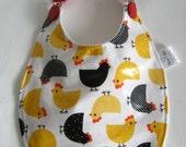 Baby Bib, Laminated Cotton Baby Bib, Unisex Baby Bib, Baby Animal Bib, Chicken Bib, Mother Hen Bib, Unisex Baby Shower Gift, Waterproof Bib