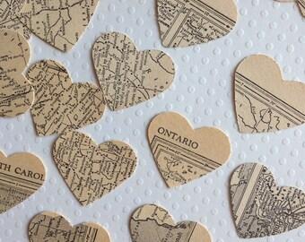 Atlas Heart Confetti - Vintage Atlas - wedding decor wedding favors decoration hearts