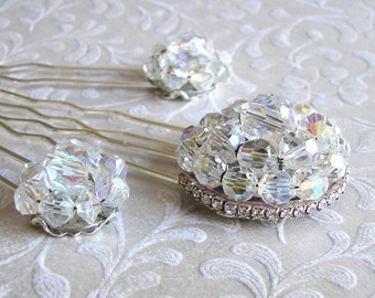 3 Piece Set Crystal Hairpins Rhinestone Hair Comb Jeweled Hairpiece Vintage Jewelry Headpiece Ballroom Pageant Accessory Bohemian Chic Bride