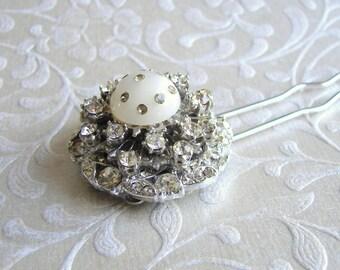 White Rhinestone Hairpin Galaxy Ornament Moon and Stars Cosmos Hairpiece Prom Hair Bling Accessory Bohemian Chic Bride Wedding Bridesmaid