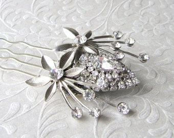 Vintage Jewelry Hairpiece Rhinestone Flower Hair Comb Floral Spray Headpiece Bohemian Chic Bride Wedding Bridal Prom Pageant Ballroom Boho