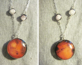 Double Sided Mars and Moons Sterling Silver necklace, Hand-Made