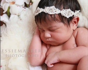 Innocence - Beautiful Lace with Tiny Rhinestones Tieback Headband